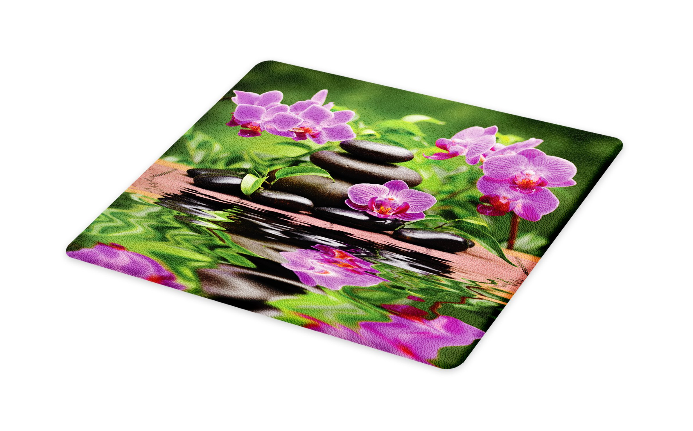 Lunarable Spa Cutting Board, Zen Basalt Stones and Orchid Reflecting on Water Greenery Wellbeing Tropical, Decorative Tempered Glass Cutting and Serving Board, Small Size, Fren Green Lavander