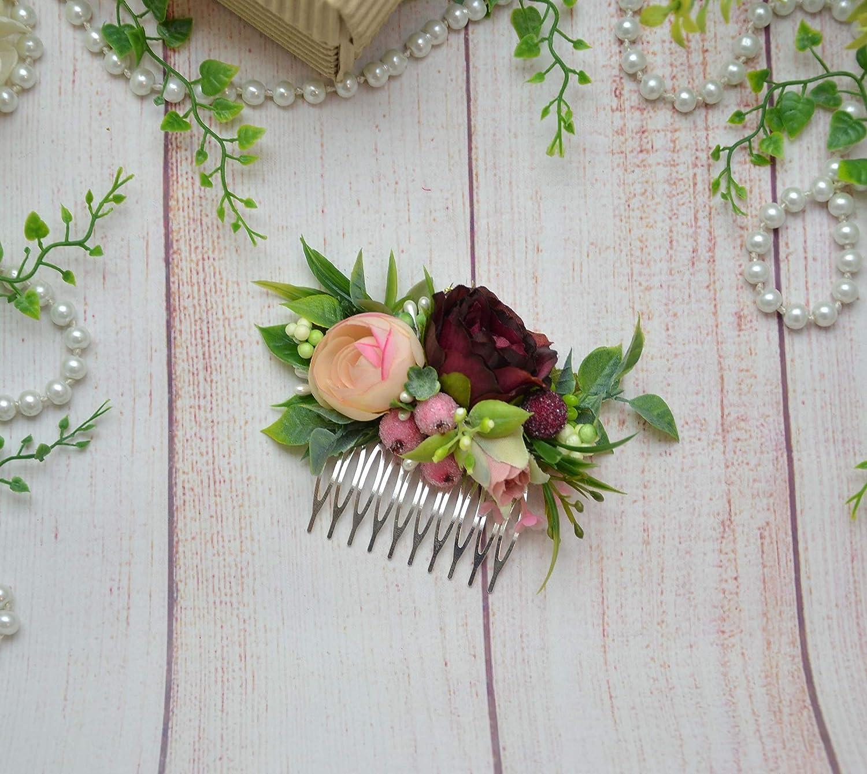 286386cf6fd2a Burgundy Blush floral comb Flower Wedding accessories for bride ...
