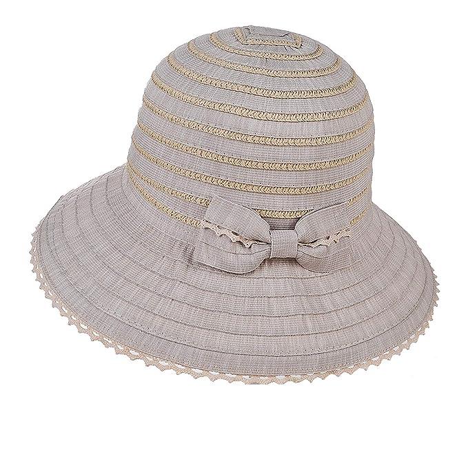 8ec3839b5ad2f Hats Women s Visor Lace Bow Big Hat Folding Beach Hat Cap