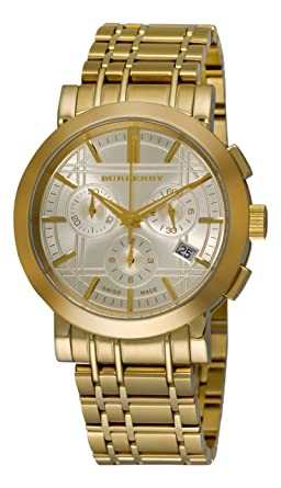 burberry men s bu1757 heritage gold plated stainless steel gold burberry men s bu1757 heritage gold plated stainless steel gold chronograph dial watch