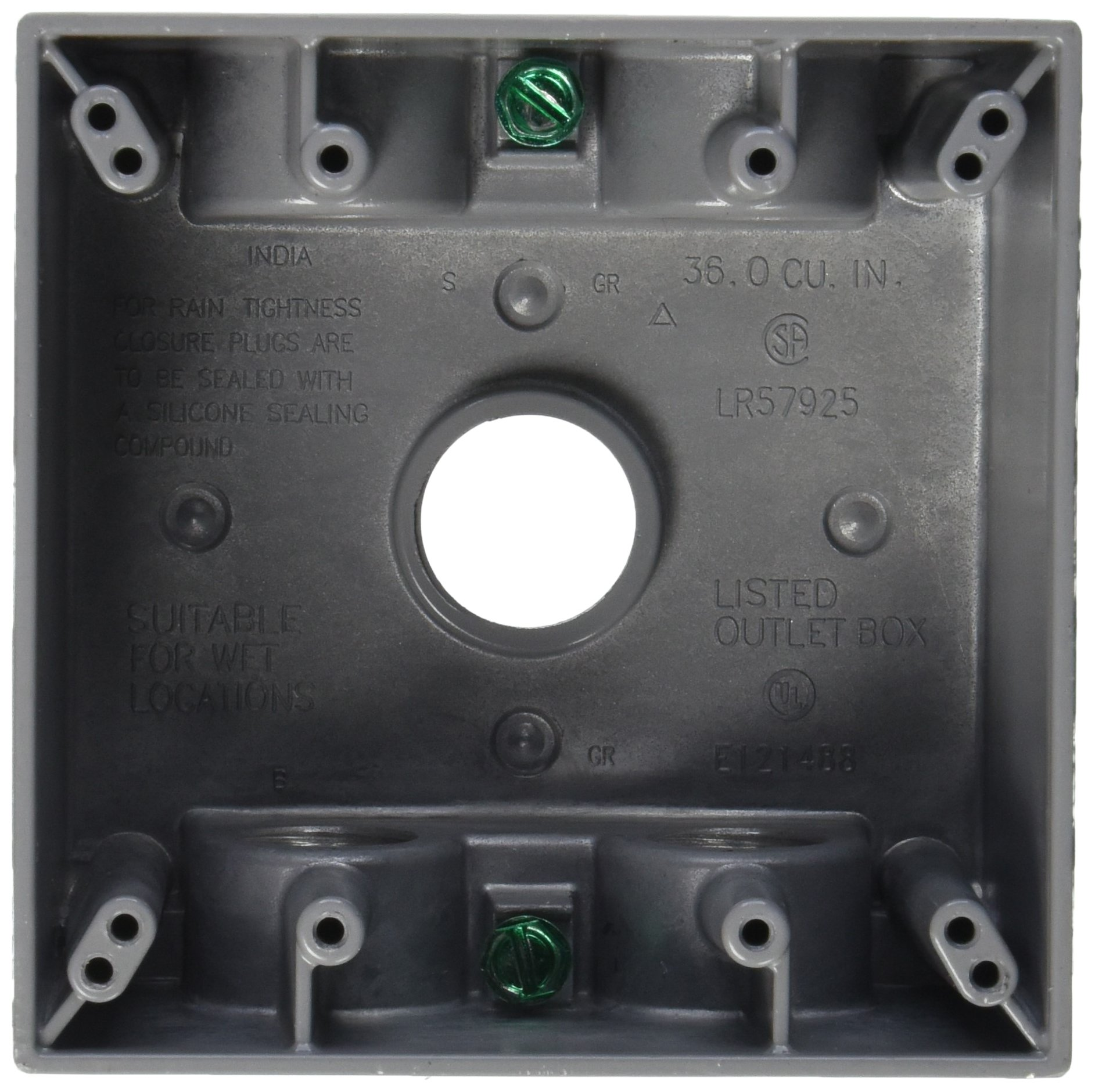 Hubbell-Bell 5388-0 2-Inch Deep 2-Gang 5 Outlet 36 Cubic Inch Weatherproof Box, Gray