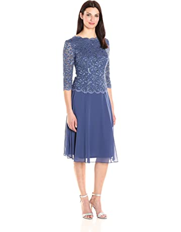 b0c71b96293b0b Alex Evenings Women's Sequin Lace Mock Dress