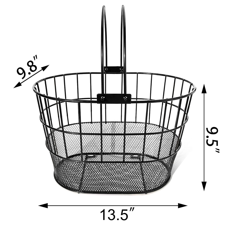 Powder Coated Steel with Handles Colorbasket 02270 Mesh Bottom Lift-Off Bike Basket