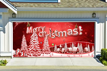 christmas garage door cover merry christmas banners 3d holiday outside decorations outdoor decor for garage door - Garage Christmas Decorations