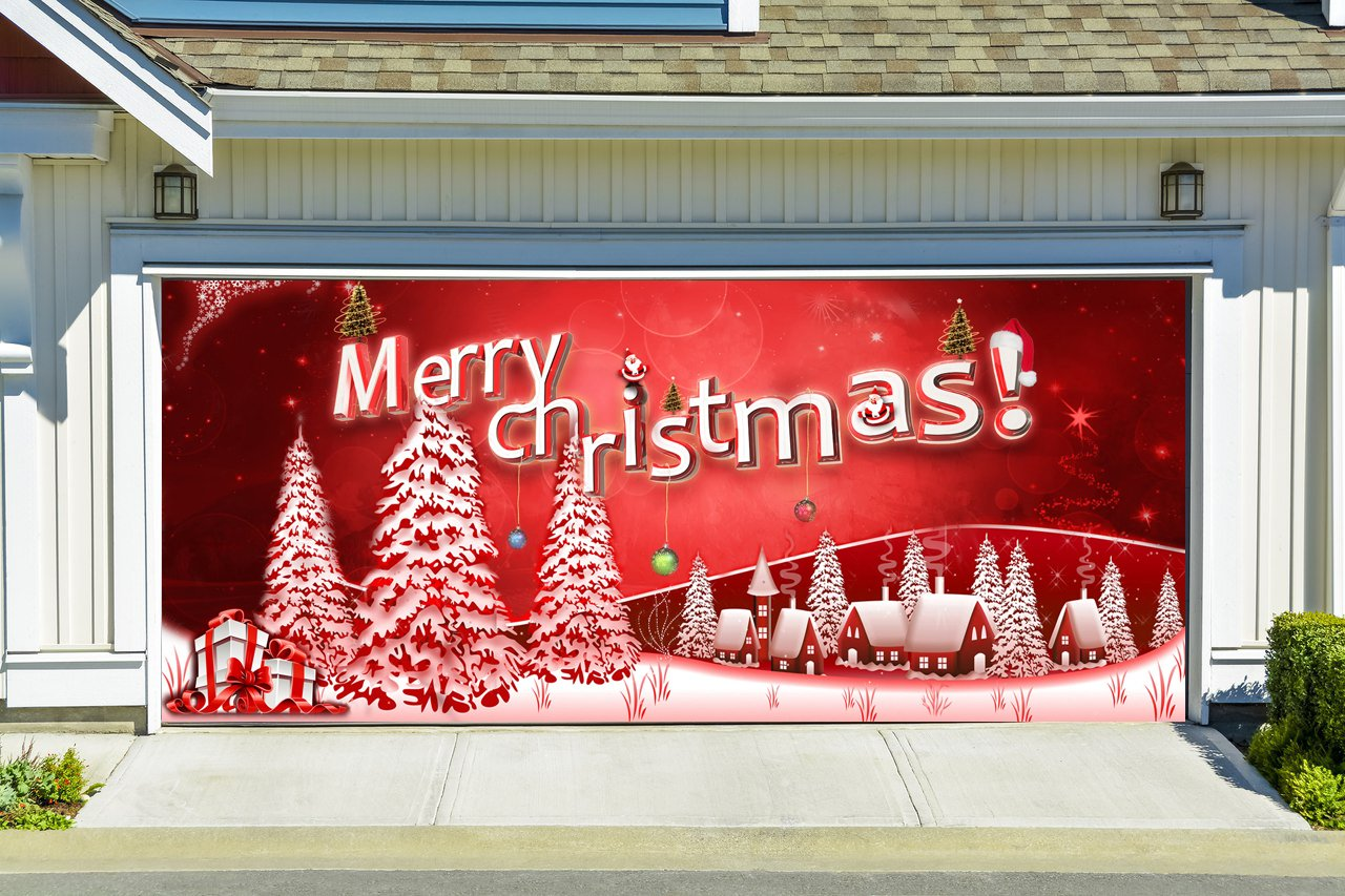 Christmas Garage Door Cover Merry Christmas Banners 3d Holiday Outside Decorations Outdoor Decor for Garage Door G64