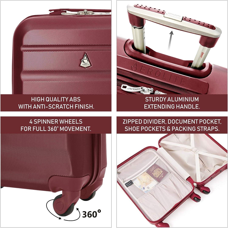 Monarch et Plus dor du vin Easyjet Aerolite ABS Bagage Cabine Bagage /à Main Valise Rigide L/égere /à 4 roulettes Jet2 Air France Approuv/ées pour Ryanair Lufthansa