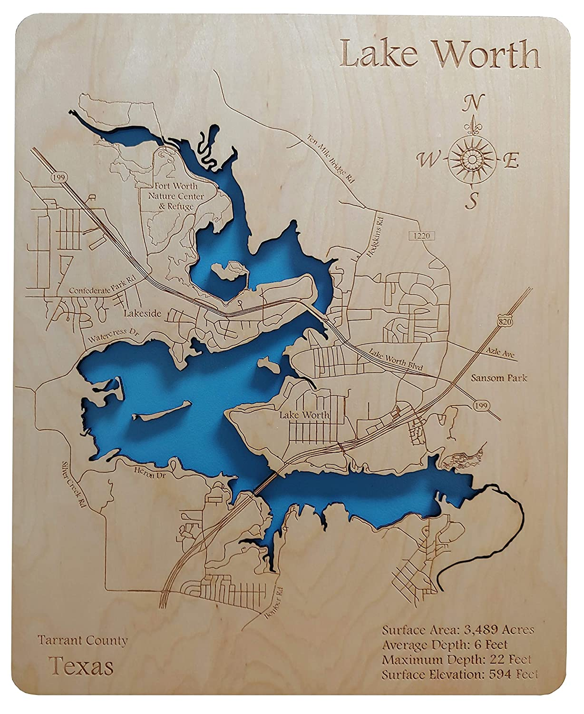 map of lake worth tx Amazon Com Lake Worth Texas Standout Wood Map Wall Hanging map of lake worth tx