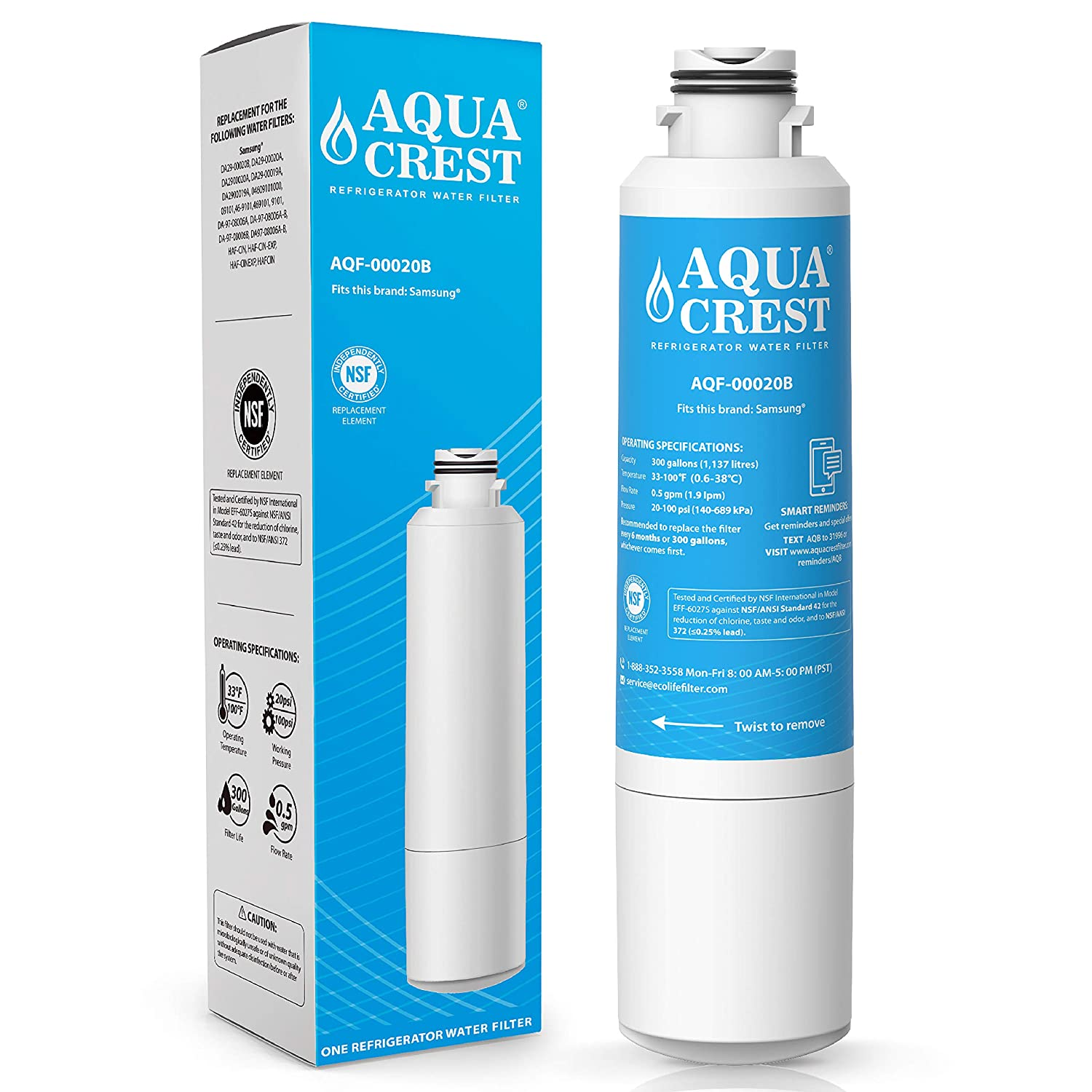 AQUACREST DA29-00020B Refrigerator Water Filter, Compatible with Samsung DA29-00020B, DA29-00020A, HAF-CIN/EXP, 46-9101