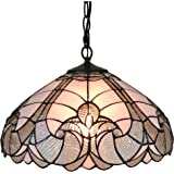 """Amora Lighting AM297HL16 Tiffany Style Hanging Lamp 16 inches Wide, 16"""", White"""