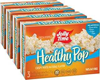 product image for JOLLY TIME Healthy Pop Crispy 'N White | Low Calorie Microwave Popcorn - Natural Vegetarian Food with No Sugar or Cholesterol, 94% Fat Free (3-Count Box, Pack of 4)