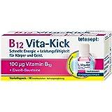 tetesept B12 Vita-Kick Trinkampullen, Ergänzungsmittel mit hochdosiertem Vitamin B12 & Eiweißbausteinen - Himbeergeschmack, 1 Packung à 18 Trinkfläschchen (Nahrungsergänzungsmittel)