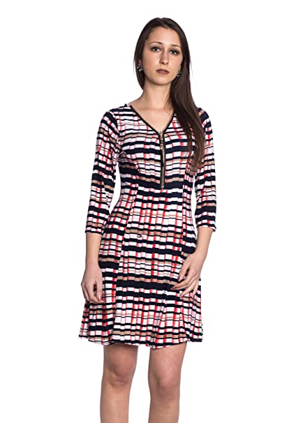 Abbino J860 Vestido para Mujer - Hecho en ITALIA - 3 Colores - Entretiempo  Primavera Verano 1dac8921e252