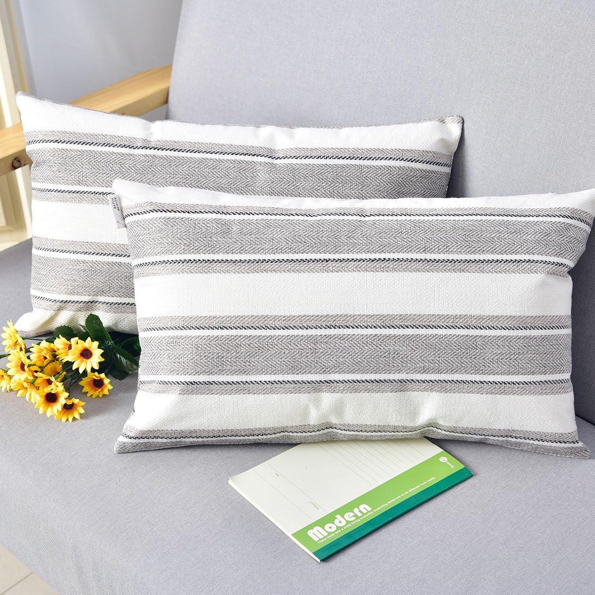 "NATUS WEAVER 2 Pieces Multi Color Stripe Pillow Cases Soft Linen Square Decorative Throw Cushion Cover Pillowcase with Hidden Zipper for Sofa - 12"" x 20"""