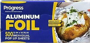 Pop-Up Aluminum Foil Wrap Sheets 12 x 10 3/4 Silver 500 per Box -Non-Stick,Heavy-Duty Aluminium foil Sheets for Restaurants, Delis, Food Truck & Carts