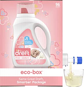 Dreft Stage 1: Newborn, Liquid Laundry Baby Detergent eco-Box, HE Compatible, 105 fl oz, 96 Loads