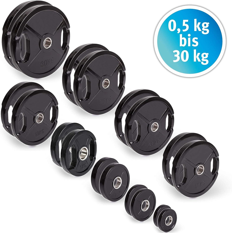 CP. Discos de pesas deporte olímpico goma 1 par de pesas de 50 mm para barras, de 1,25 kg - 25 kg por par