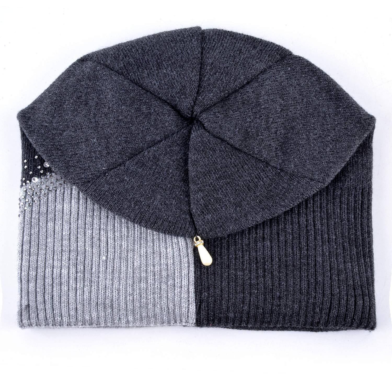 GordonKo Winter Knitted Hat Women Rhinestones Color Stitching Beanies Caps Ladies Outdoors
