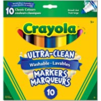 Crayola Ultra-Clean Washable Markers, Broad Line, 10 Count, School and Craft Supplies, Drawing Gift for Boys and Girls, Kids, Teens Ages 5, 6,7, 8 and Up, Back to school, School supplies, Arts and Crafts,  Gifting