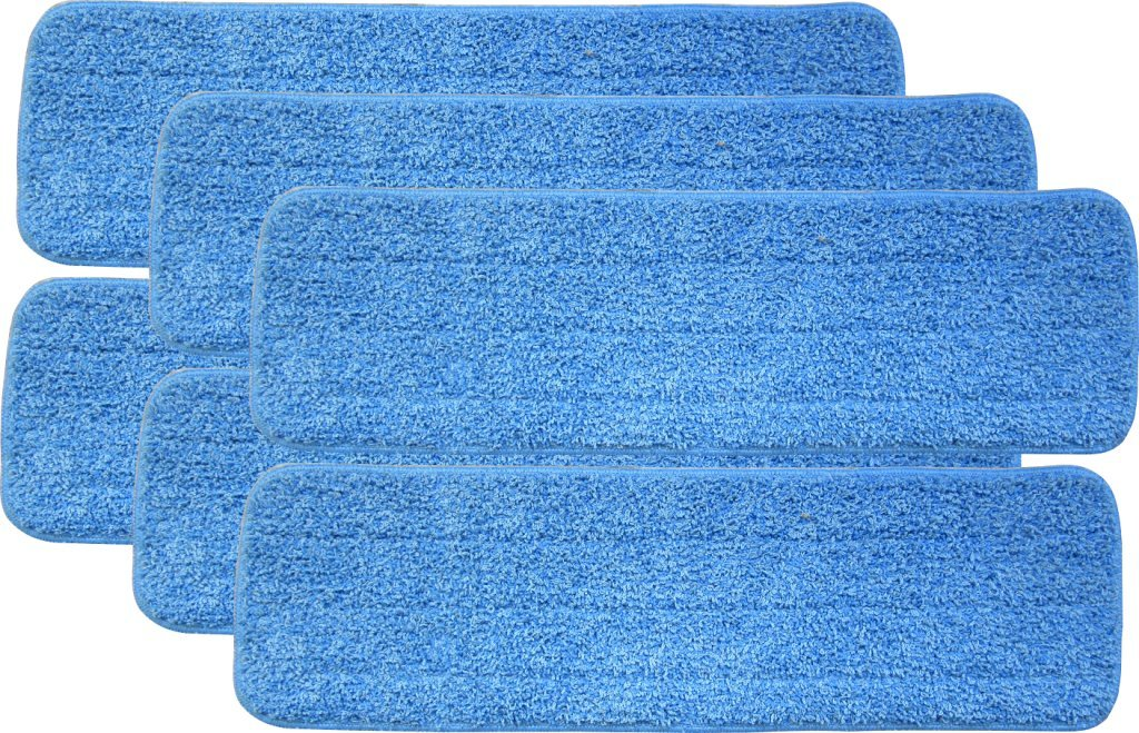 Turkey Creek Essentials 6 Microfiber Mop Pads 18 Inch Washable Commercial Quality, Replacement Refills for Hook & Loop Flat Mops - Use Wet or Dry, 18'' L X 5.5'' W, 6Pk