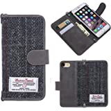 iPhone 7 Case iPhone 7 Wallet Case Harris Tweed Synthetic Leather Flip Wallet Phone Cover with Credit Card Holder for iPhone 7 (Gray)