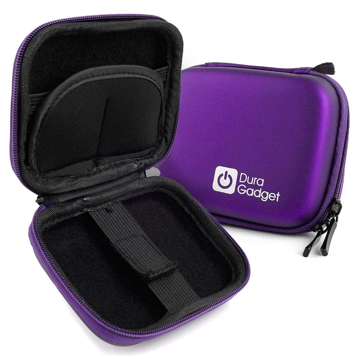 DURAGADGET Premium Quality Purple Hard EVA Shell Case with Carabiner Clip & Twin Zips - Compatible with The Fenyi Bluetooth Wireless Smart Bracelet i5 Plus i5+