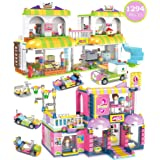 1294 Pieces Stylish Hair Salon Fun, Shopping Supermarket Creative Building Blocks Toy Set - Portable Storage Box with Base Pl