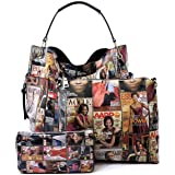 2e0df672c8c0 Glossy Magazine Cover Collage 3-in-1 Shoulder Bag Hobo Michelle Obama  Handbag