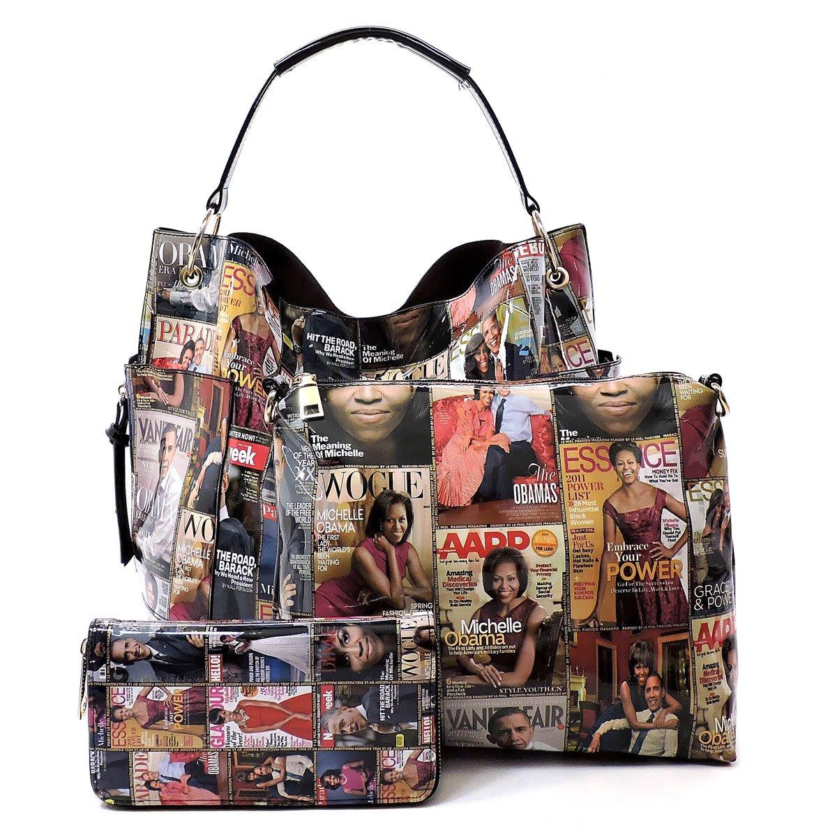 Glossy Magazine Cover Collage 3-in-1 Shoulder Bag Hobo Michelle Obama Handbag (Q-Multi) by Elphis