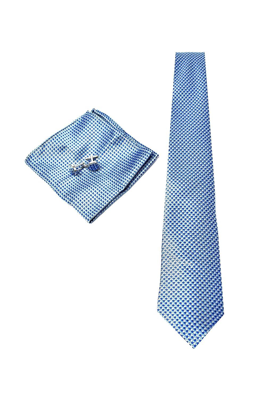Elegante y Moderno - Pa/ñuelo de Bolsillo y Gemelos Azul Claro a Rayas Cl/ásico Corbata de hombre 100/% Seda Caja y Conjunto de Regalo, ideal para una boda, con un traje, en la oficina...