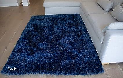 dc9131ed01 Shag Shaggy Fluffy Fuzzy Furry Modern Contemporary Designer Decorative  Solid Plush Navy Blue Dark Blue Two Tone Color 8x10 Living Room Bedroom  Area Rug ...
