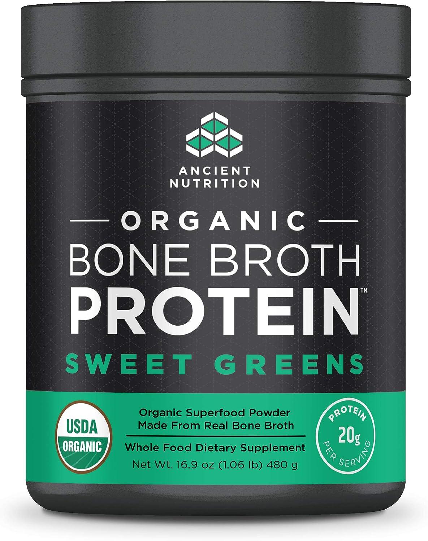 Ancient Nutrition Organic Bone Broth Protein Powder, Sweet Greens Flavor, 17 Servings Size - Organic, Gut-Friendly, Paleo-Friendly