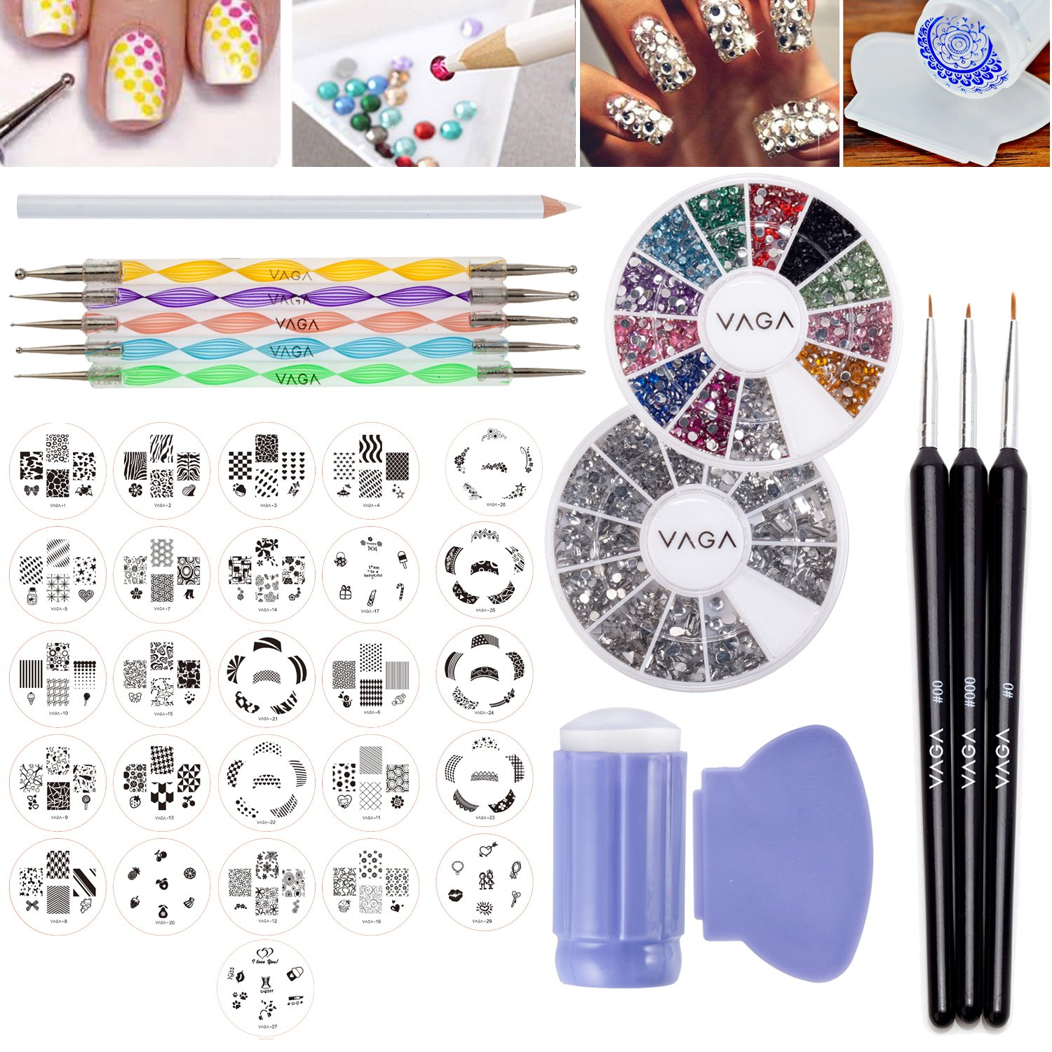 Amazing Value Professional Nail Art Designs Set With 26pcs Stamping Plates of Total 160 Patterns, Wheels of 1200 Silver Gemstones In Different Shapes And 1200 Crystals / Gems In 12 Different Colours, Stamper / Stamp, Scraper / Scraping Accessory, Dotters /