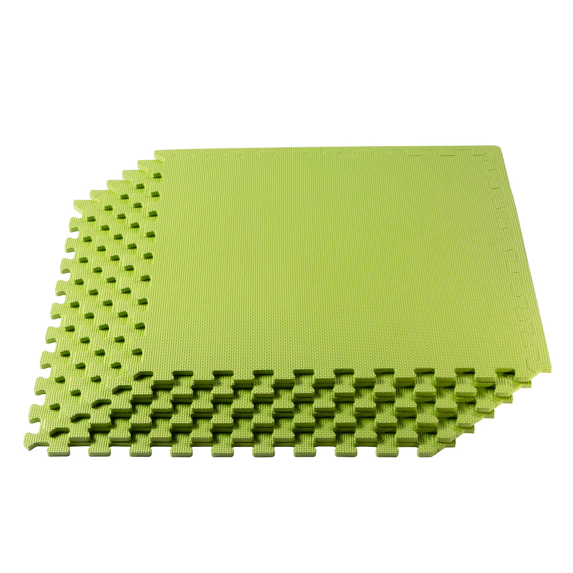 We Sell Mats Multipurpose Exercise Floor Mat with EVA Foam, Interlocking Tiles, Anti-Fatigue, for Home or Gym, 16 Square Feet (4 Tiles), 24 x 24 x 3/8 Inches, Lime Green