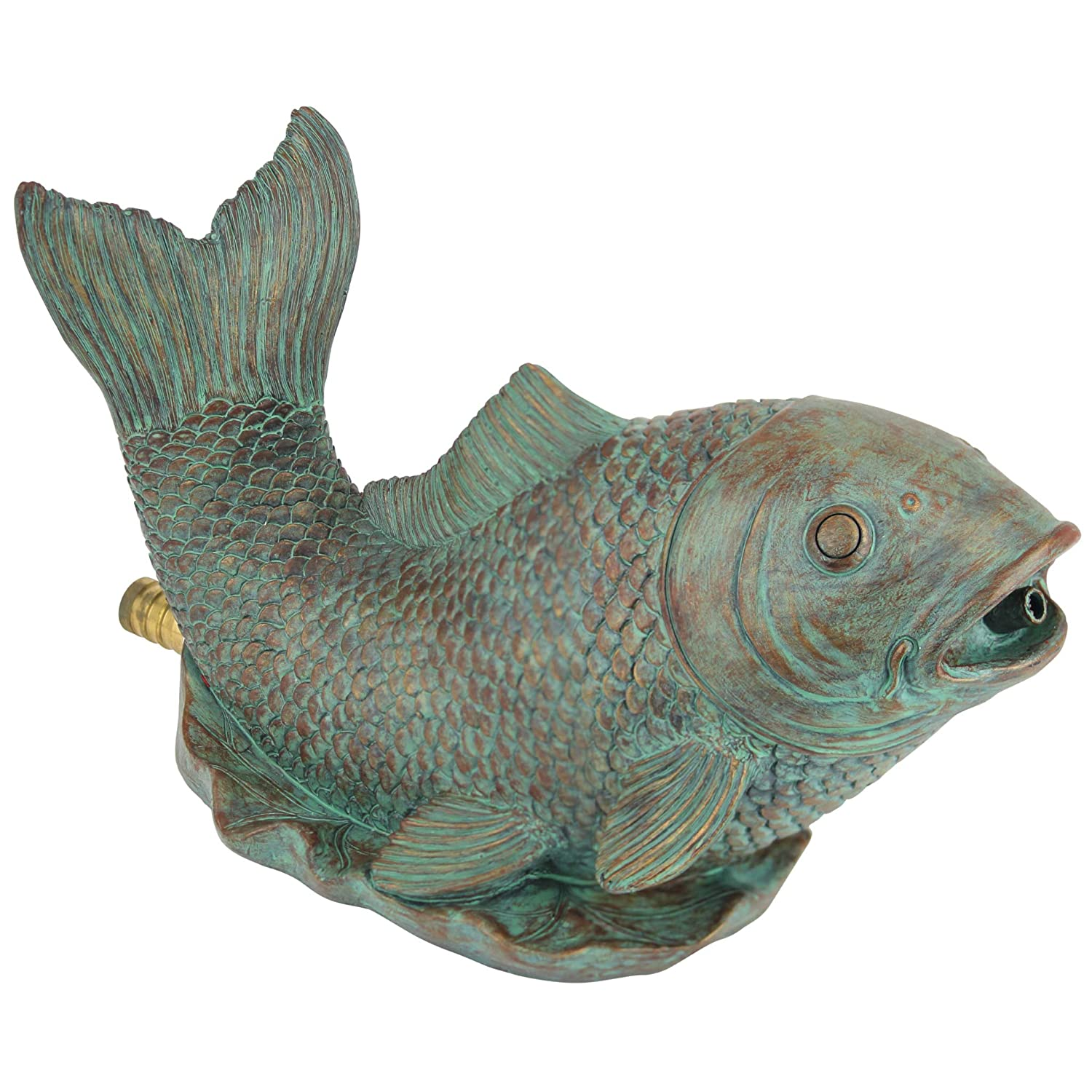 Design Toscano Piped Spitter Statue Japanese Koi, Bronze QM2854850