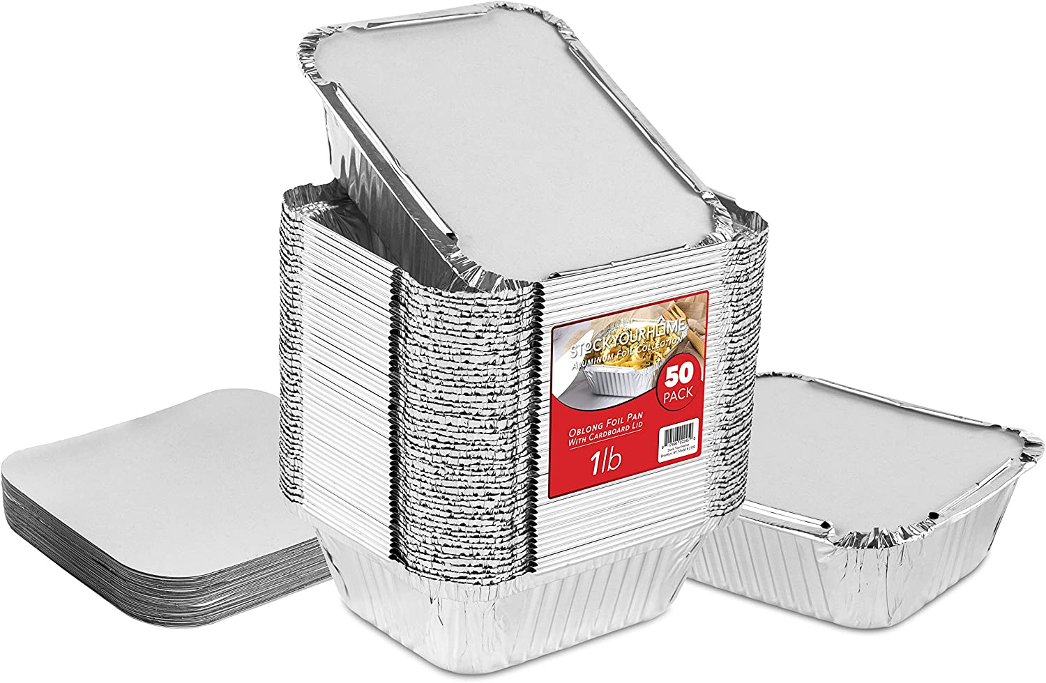 "50 Pack Disposable Takeout Containers with Foil Lids – 1 Lb Capacity Aluminum Foil To Go Food Containers – Secure Lid to Lock in Freshness – Eco Friendly Recyclable Aluminum Pans – 4"" Inch Drip Pans"