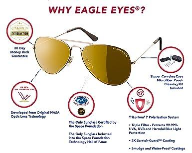 0acde08a01 Amazon.com  Eagle Eyes Mirrored Polarized Sunglasses - Celebrity Classic  Aviator Sunglasses -UVA