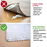 Rug Grippers X-PROTECTOR - Best 16 pcs Anti Curling Rug Gripper. Keeps Your Rug in Place & Makes Corners Flat. Premium Carpet Gripper with Renewable Carpet Tape - Ideal Non Slip Rug Pad for Your