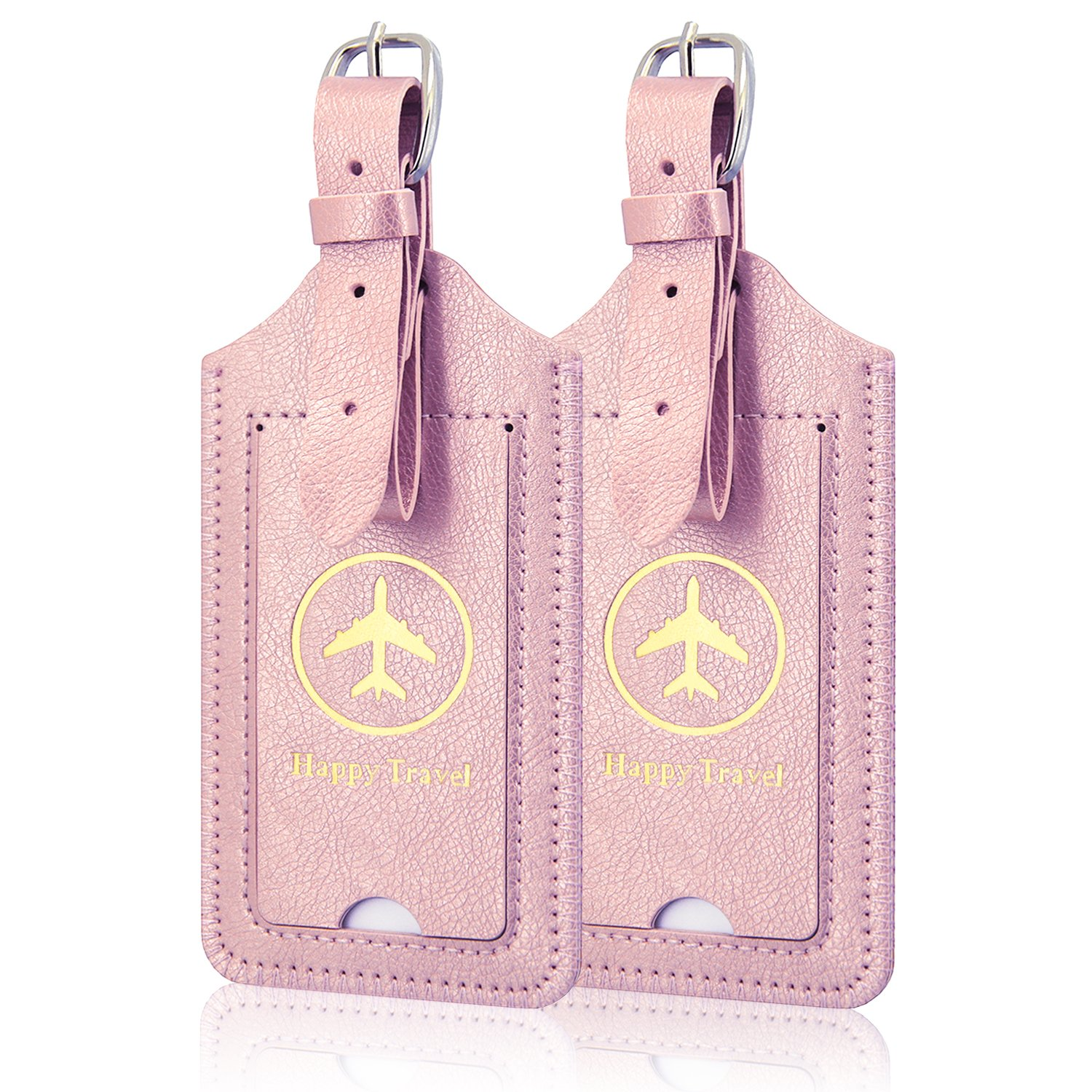 Luggage Tags, ACdream Leather Case Luggage Bag Tags Travel Tags 2 Pieces Set, Pink Star of Paris