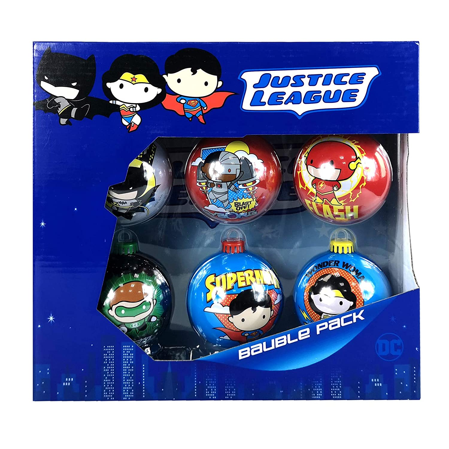 1 x Justice League 6PC Christmas Tree Tin Baubles Decoration Pack ...