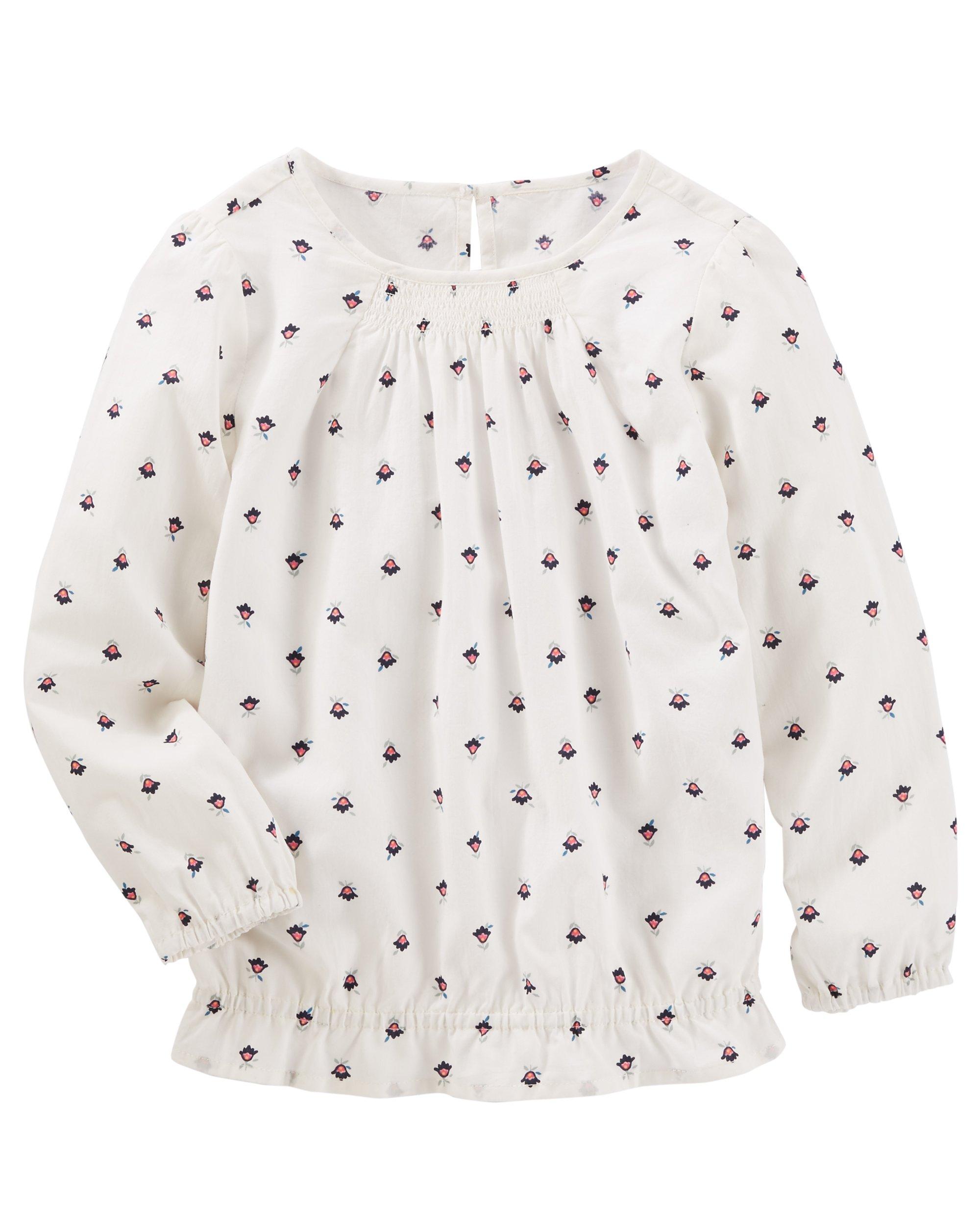 Osh Kosh Girls' Kids Long-Sleeve Fashion Top, White