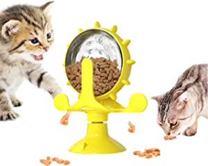 SEEALVIN Windmill Cat Toy, Pet Food Dispenser Cat Game Toys Turntable Snack Feeder with Suction Cup Slow Feeder Toy for Cat and Dog Pet Interactive Toys Rolling Cats and Dogs Food Leaker Toy (Yellow)