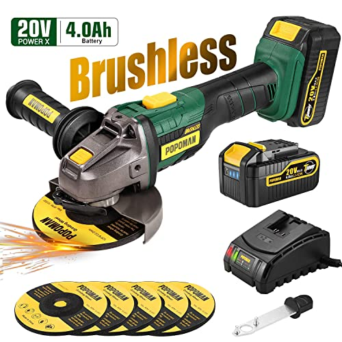 Cordless Angle Grinder, POPOMAN 20V MAX Brushless Cut-off Tool Grinder with 4.0Ah Lithium-ion Battery, Max 10000RPM, 5pcs 5 Max Grinding Wheel, 3-Position Auxiliary Handle, Fast charger