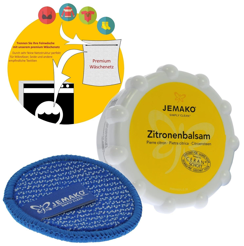 Jemako Zitronenbalsam 350g Duopad blau mini Ø 9, 5 & Sinland feinmaschiges Wäschenetz