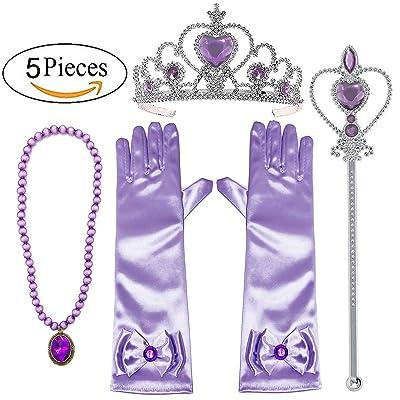 Alead Princess Dress Up Rapunzel Violet 4 Pièces Diadème,Baguette Magique,Gants,Baguette,Collier … (lavande)