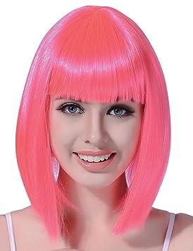 Peluca recta media melena rosa fluorescente mujer - Única