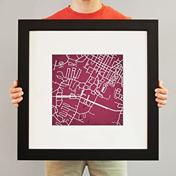 Kentucky Campus Map.Amazon Com Eastern Kentucky University Campus Map Art 23 Frame