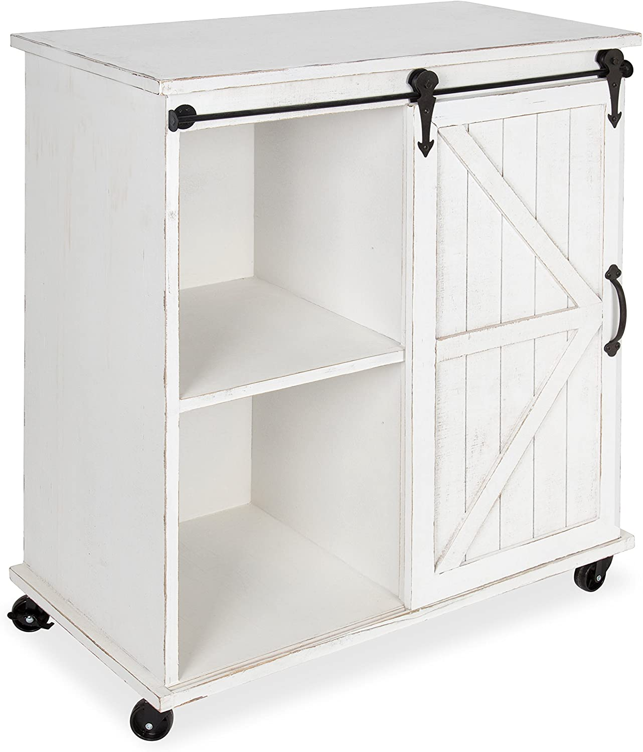 Amazon Com Kate And Laurel Cates Multi Purpose Wooden Rolling Kitchen Cart Storage Cabinet With Sliding Barn Door And Locking Wheels Antique White Furniture Decor