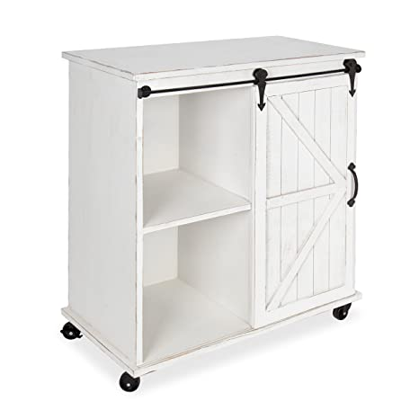 Kate and Laurel Cates Multi-Purpose Wooden Rolling Kitchen Cart Storage  Cabinet with Sliding Barn Door and Locking Wheels, Antique White