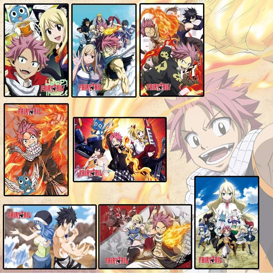 Fairy Tail Posters 8 PCS Decor Live Room Bedroom Anime Wall Art Print(11.5x16.5 Inch)