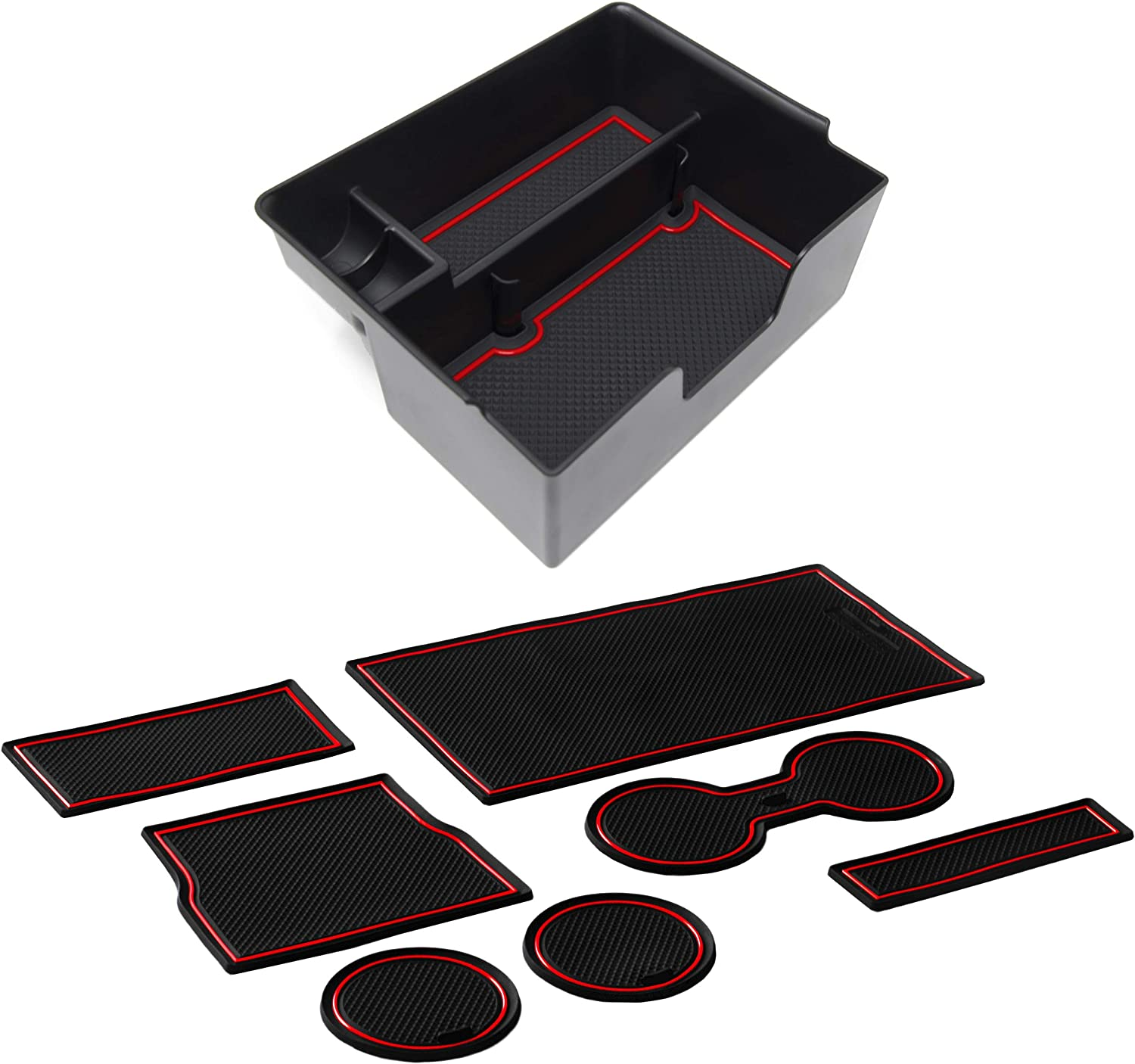 Red Trim CupHolderHero for Tesla Model 3 2017-2020 Custom Fit Center Console Organizer Tray with Deep Pocket and Premium Cup Holder Liners Kit 10-pc Bundle